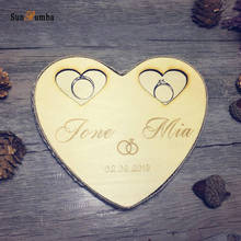 1pcs Vintage Custom Personalized Wooden Ring Pillow Holder Rustic Wedding Decor Party Engagement Decoration Pillows Bearer