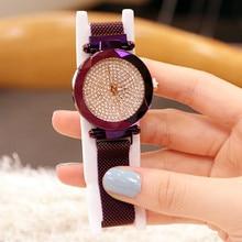 Top Brand Watches For Women Rose Gold Mesh Magnet Buckle Diamond Quartz Watch Geometric Surface Casual Wristwatch