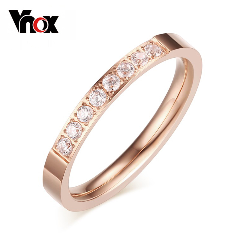 Vnox 3mm CZ Stone Rings for Women Small Rose Gold Black Silver Wedding Bands