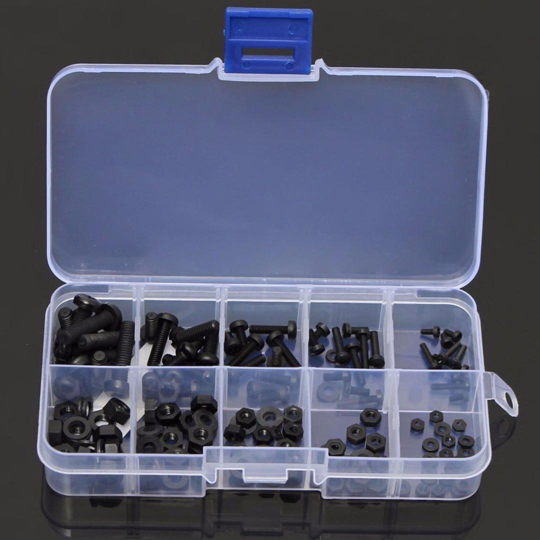 150 pces portátil novo m2 m2.5 m3 m4 m5 náilon preto encanta parafuso porca espaçador impasse sortimento conjunto não-magnético com caixa