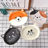 8PCS Cute Cat Pattern Thickened Disposable Paper Plates Cake Plates Barbecue Plates Party Supplies