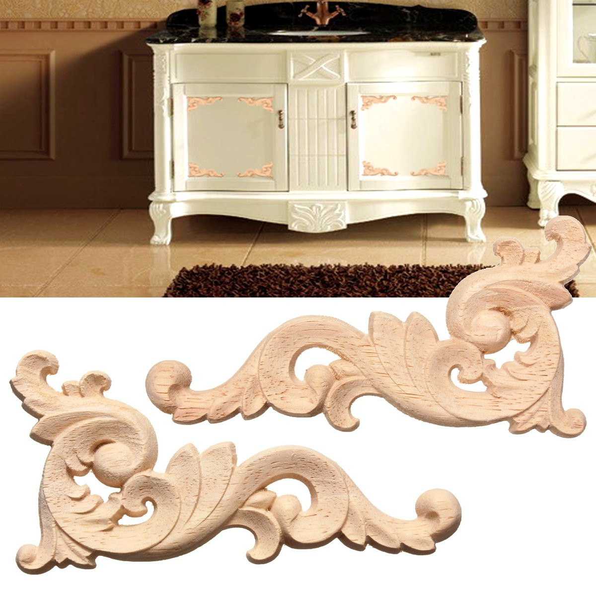 Decorative-Figurines Furniture Door-Decorate Decal-Corner Applique-Frame Wall-Doors Woodcarving