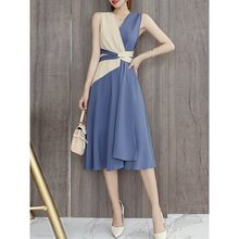 Korean Style Elegant Sexy Party Vintage Women Dresses Summer Chiffon High Waist Bowknot Simple Blue Female Fashion Retro Dress