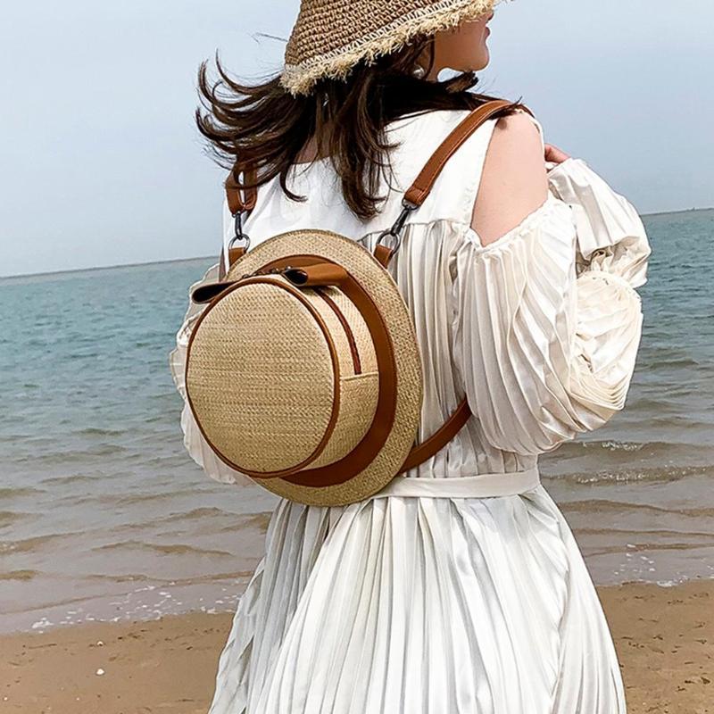 Cute Hat Shape Design Straw Bag Summer Beach Women Teenage Girls Small Backpack Mochila Feminina Cute Hat Shape Design Straw Bag Summer Beach Women Teenage Girls Small Backpack Mochila Feminina