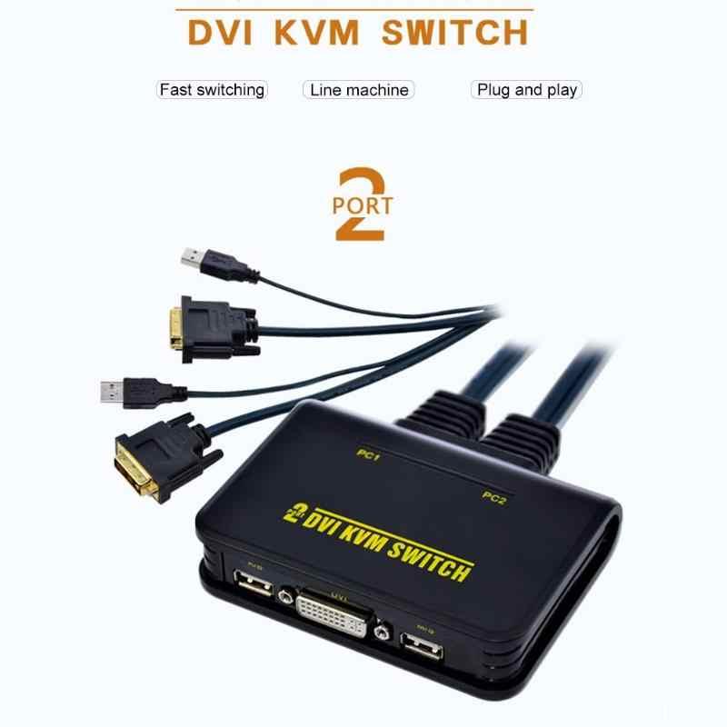 2 منفذ Usb 2.0 2 في 1 خارج Dvi Kvm الجلاد صندوق التبديل مع الصوت والفيديو كابل لمراقبة لوحة المفاتيح ماوس الكمبيوتر