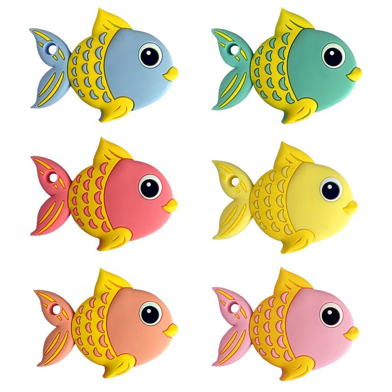 1pcs Fish Silicone Teether Baby Teething Toys Solid Color Teething Infant Childr