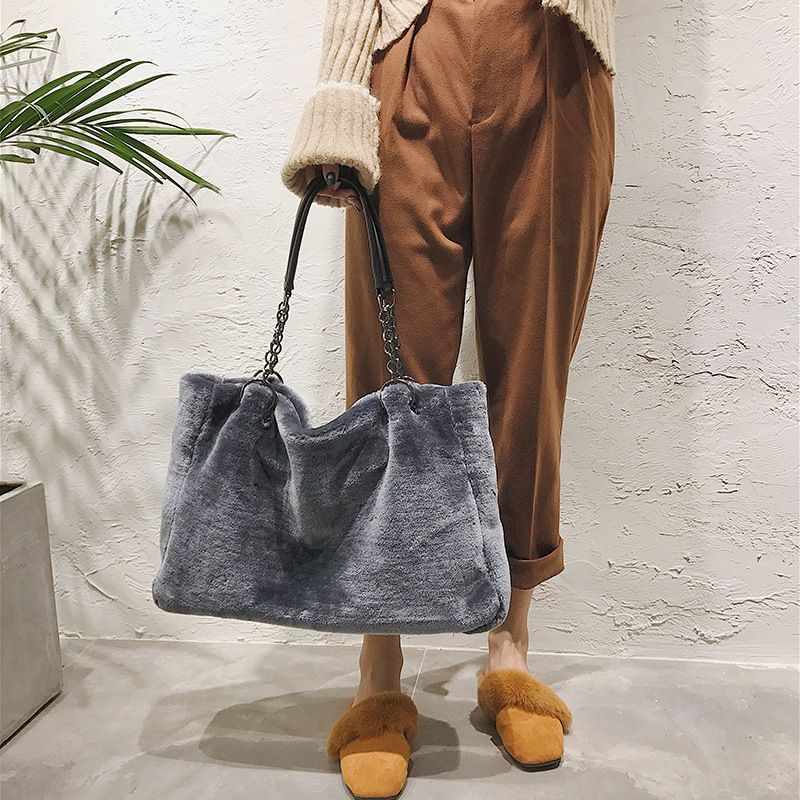 New Style Plush Handbags European And American Fashion Furry Big Bag Ms Shoulder Bag Young Women Boutique Soft Fabric Big Bags