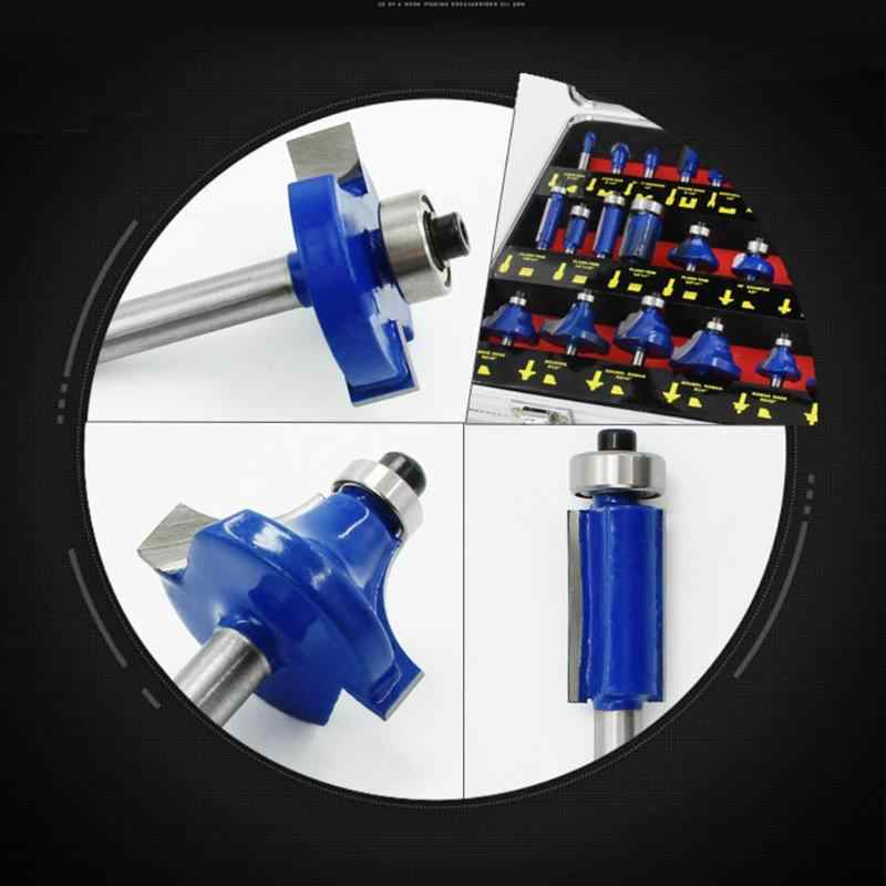 15/35pcs/set 1/4in Handle Wood Router Bit Mill Engraving Trim Woodworking Milling Cutter Trimmer Adapter drop shipping