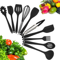 10 Sets Kitchen Tool Non stick Kitchen Set Silicone Kitchen Set Food Clip Agg Beater Small Brush Leaking Shovel Soup Spoon Sets