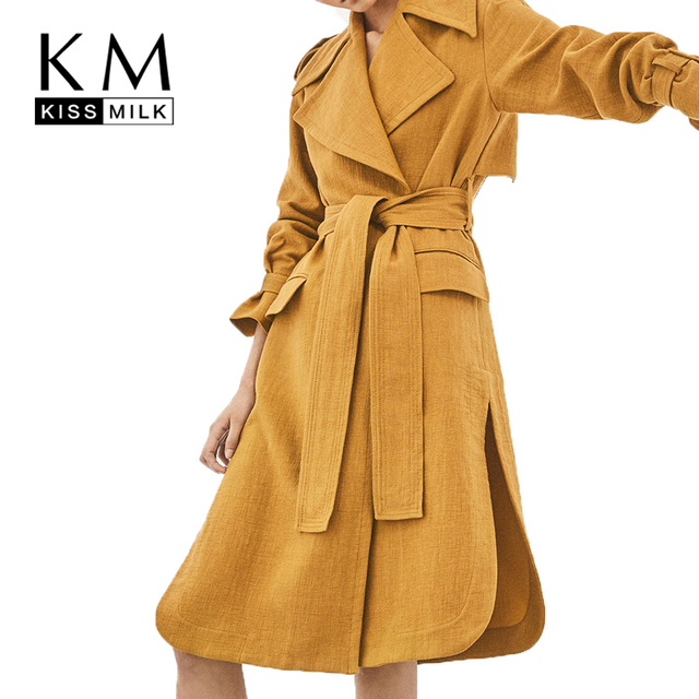 946a2cc8519fb Kissmilk Large Plus Size Epaulettes Waist Knot Safari Trench Winter Duster Coat  Women Clothes Windbreaker New Streetwear
