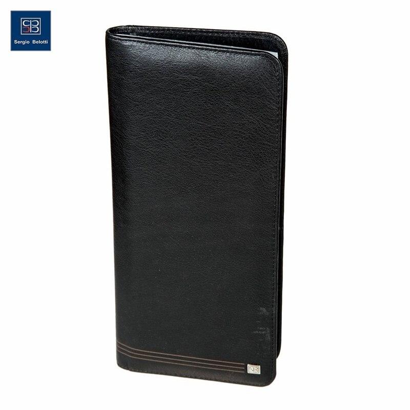 Business Card Holder Sergio Belotti 1309 West black short genuine leather cowhide men wallet business card coin money male purse card holder
