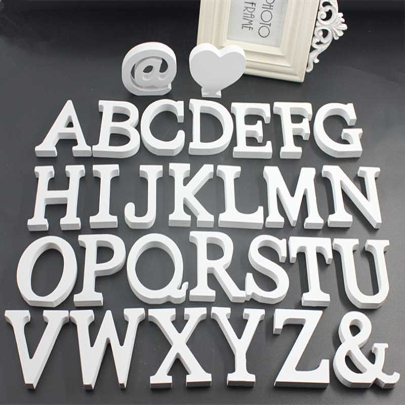 Home & Garden 1pcs English Alphabet White Diy Name Design Standing Wedding Decoration English Letters Handcrafts Ornaments Crafts Accessories