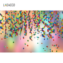 цена на Laeacco Colorful Ribbon Party Backdrop Light Bokeh Photography Background Customized Photographic Backdrops For Photo Studio