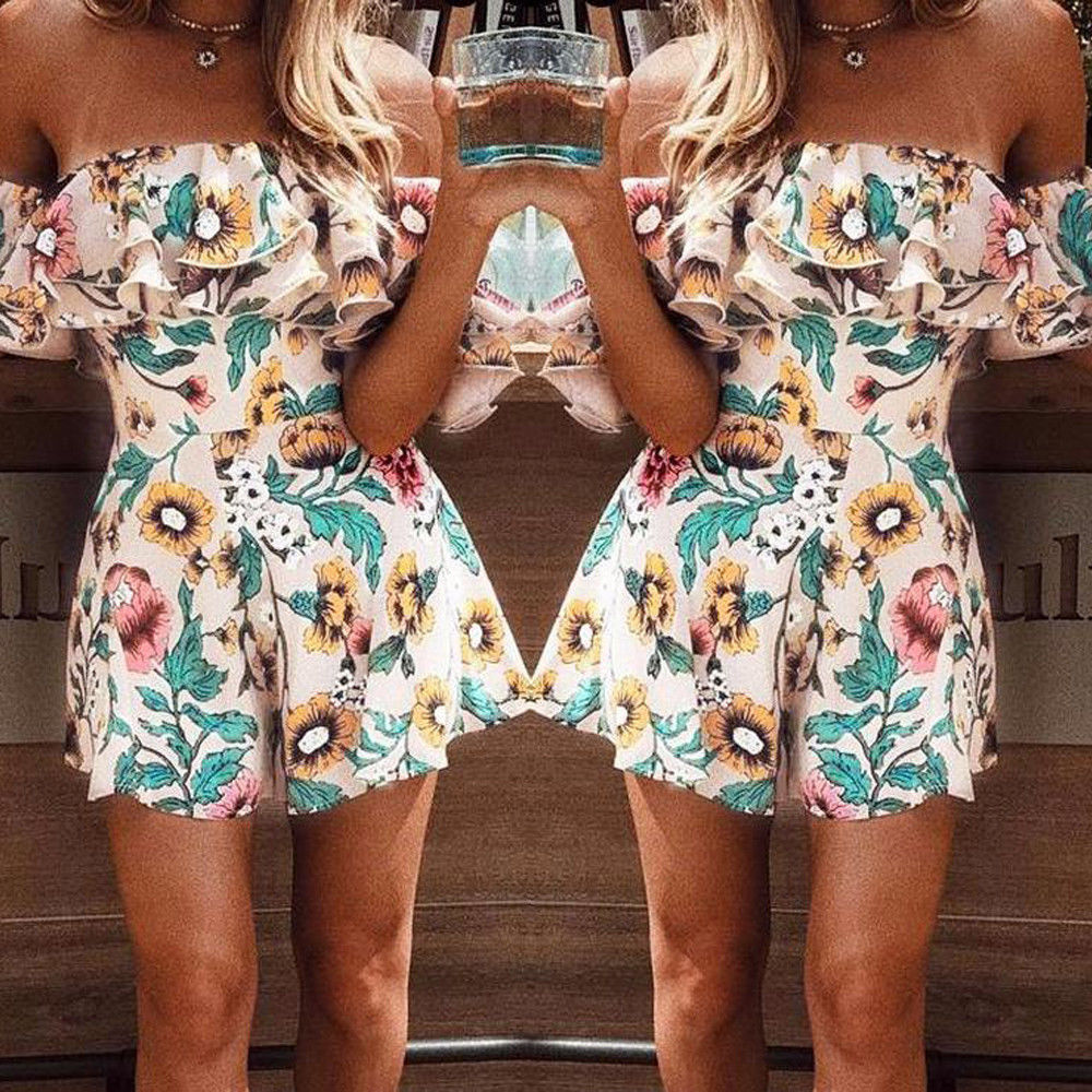 Fashion Women Summer Mini Playsuit Jumpsuit Overalls Romper Shorts Beach Dress
