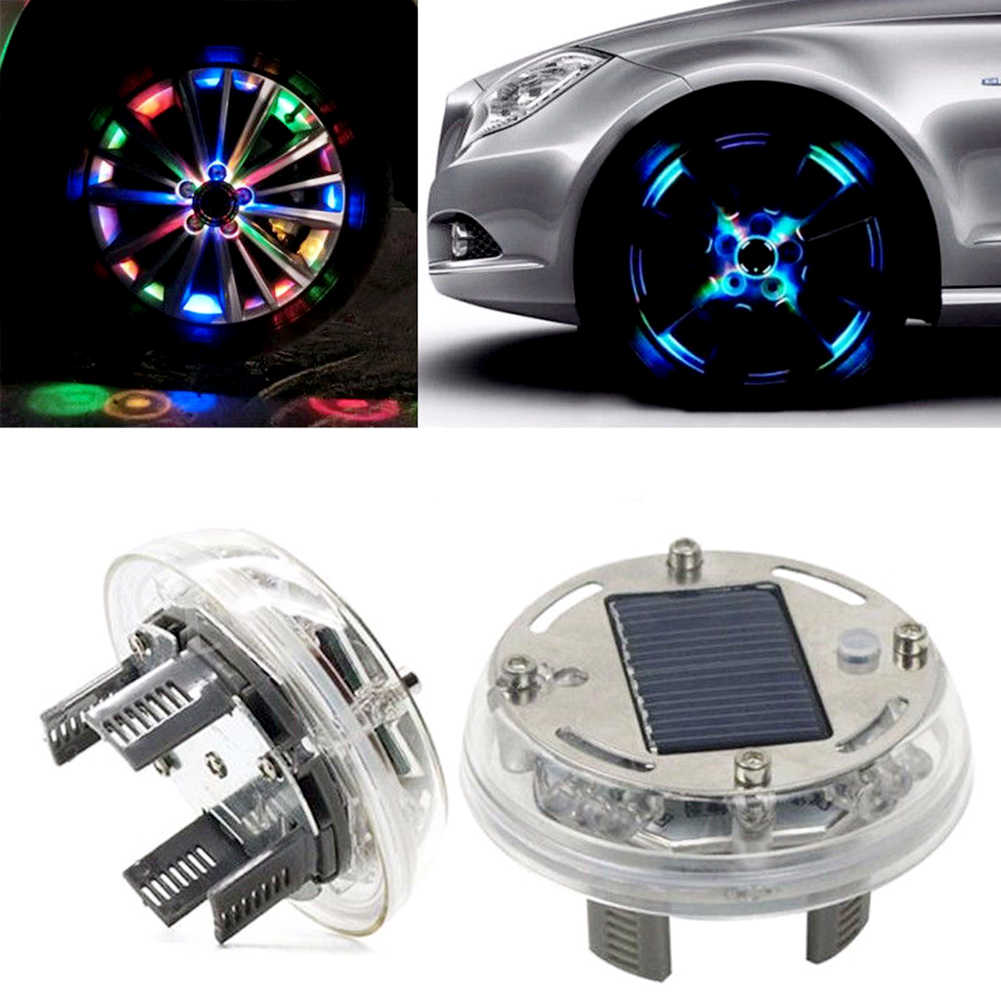 Solar Energy Auto Flash LED Car Wheel Hub Tire Tyre Valve Cap Light Lamp