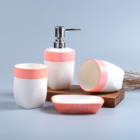 Four piece Set Ceramic Bathroom Products with Soap Dish Gargle Cup Brush Tooth Cups Snowflake Glazed Porcelain Made In China
