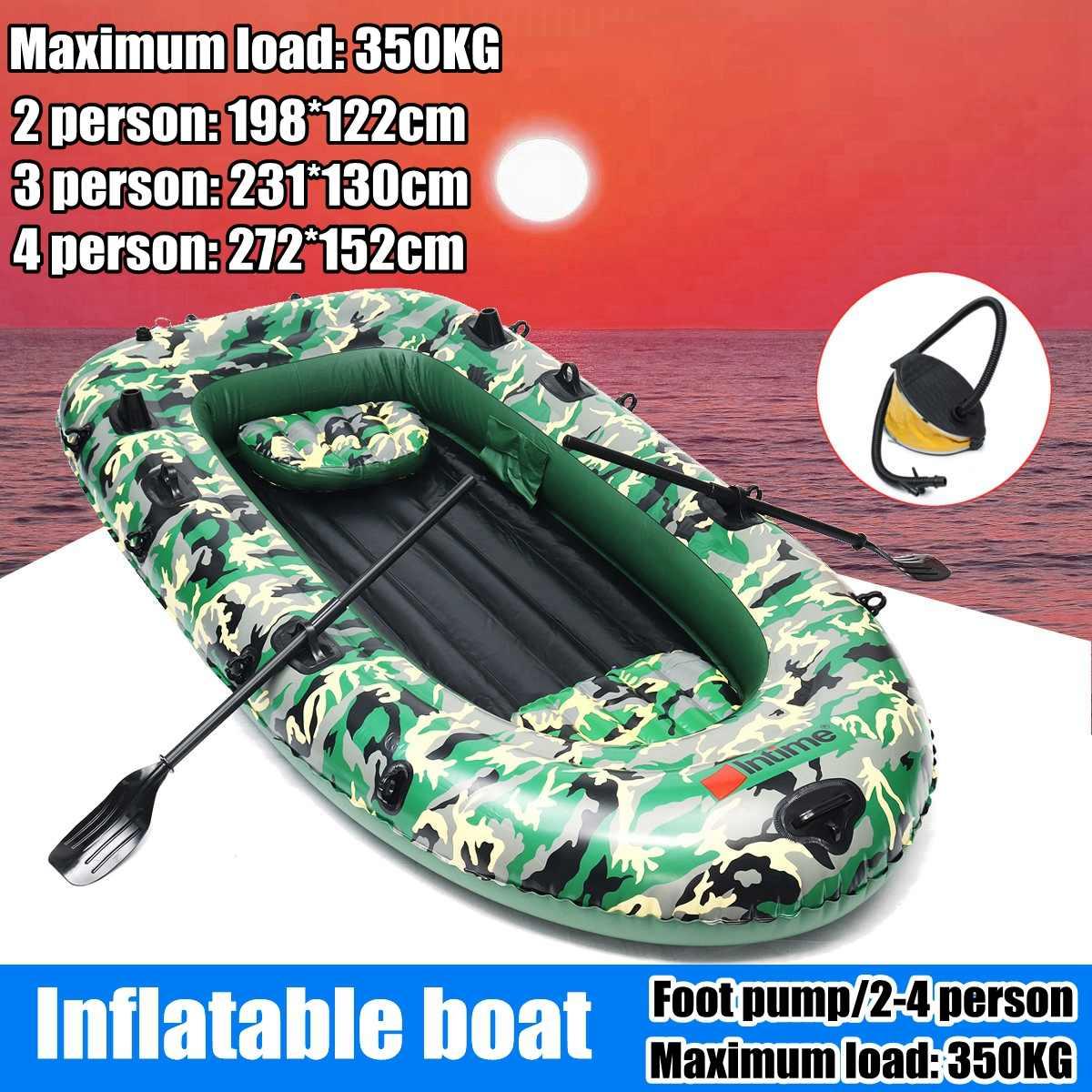 Sports fishman 2/3/4 personne PVC épais bateau gonflable pêche kayak gonflable pompe à aubes canot pneumatique radeau à rames