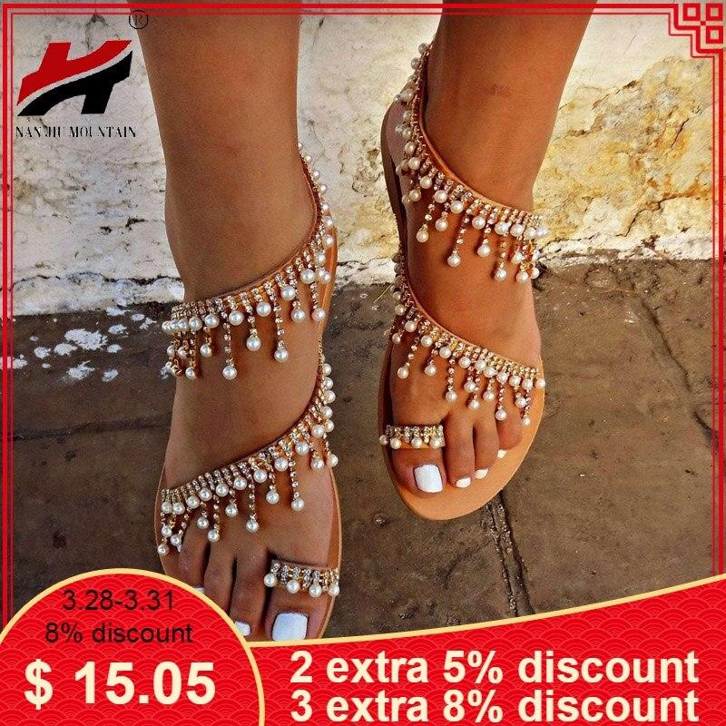 0465bc883c2a5 NAN JIU MOUNTAIN Shoes Woman Summer Sandals Roman Pearl Handmade Beaded  Flat Women's Shoes Large Size 34-43