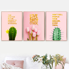 Pink Tulip Flower Green Cactus Love Quote Wall Art Canvas Painting Nordic Posters And Prints Pictures For Living Room