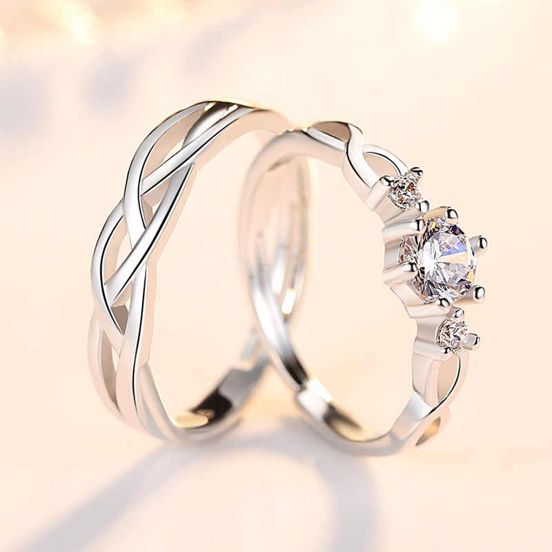 KITEAL ขายใหม่ 925 เงินคู่แหวนผู้หญิงแหวน zircon ชุดแหวน aneis ของขวัญวันวาเลนไทน์