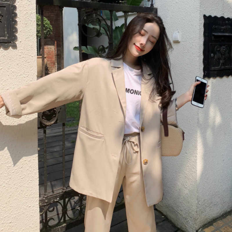 4ce64050593 Women s suit 2019 spring and autumn new casual long-sleeved suit trousers  two-piece