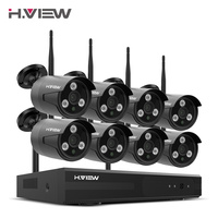 H.VIEW 1080P Wifi CCTV Camera Security System Kit Wireless Video Surveillance with Recording Wireless CCTV System 1080P 2MP Kit