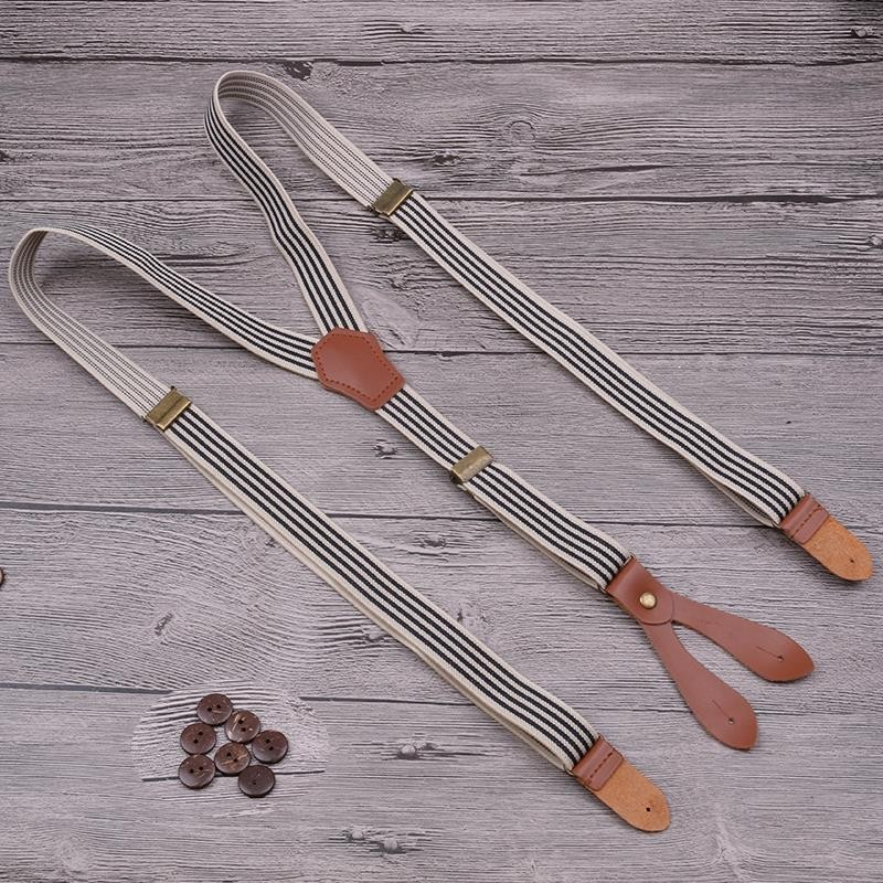 Vintage Brown Striped Bronze 4 Buttons Suspenders Genuine Leather Link Premium Buckle Flexible Men And Women Braces