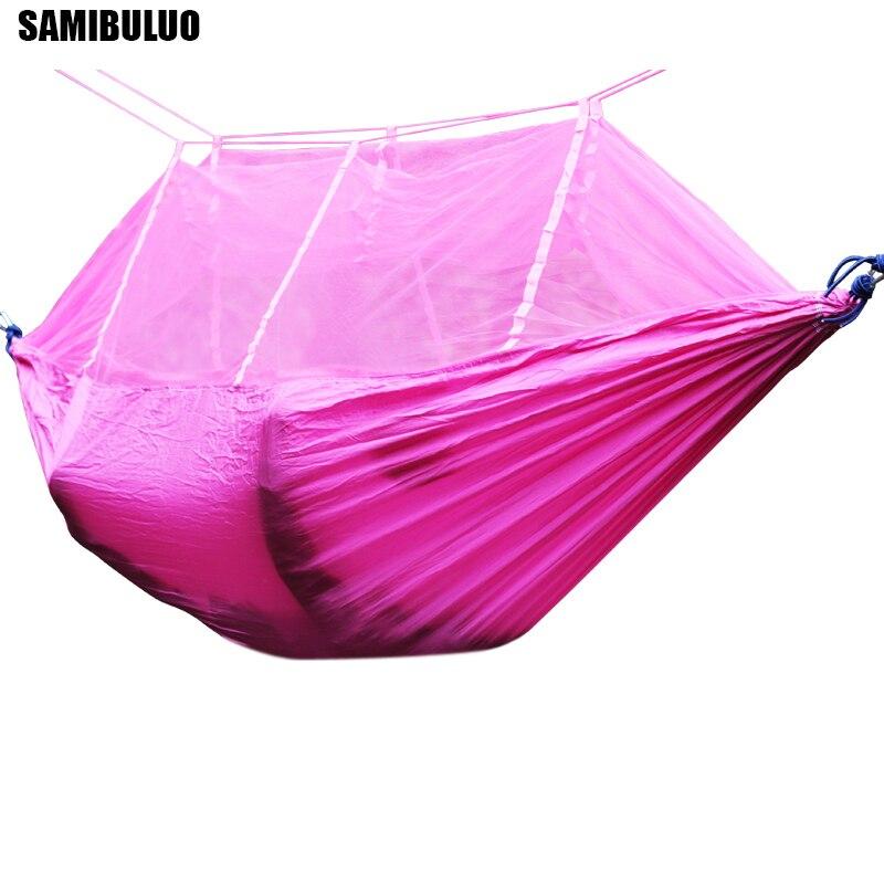 SAMIBULUO Mosquito Net Hammock Portable Adjustable Straps Travel Survival Hunting Sleeping Bed Camping Hamas