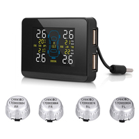 Careud Car Tpms 2 Usb Ports For Smartphone Wireless Tire Pressure Monitor Alarm System With 4 Sensors