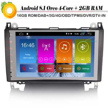 9 Android 8.1 Autoradio DAB+ WiFi 4G Radio Car GPS Navigation Player for Mercedes Benz A/B Class W169 W245 Sprinter Viano Vito image