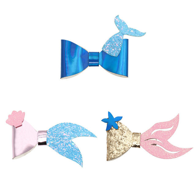 Mermaid / Ocean Style Hair Bow 3 pcs. Set