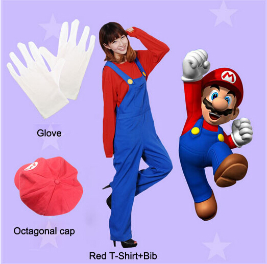 Stock Hot Sale Kid Adult Green Red Color Luigi Mario Cosplay Costume from Super Mario Bros. Game With Hat Gloves 8 Size