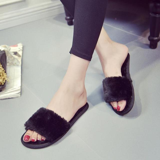 Fashion Women Slippers Home Indoor Plush Slippers Female Flat Shoes Ladies Comfortable Soft Fur Slides Chaussure Femme  #2