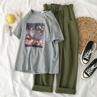 Safari Style Army Green Pant Set Summer Set Women Gray Print T shirt + Drawstring Pant Trouser Set Two Piece Set Casual Twinset