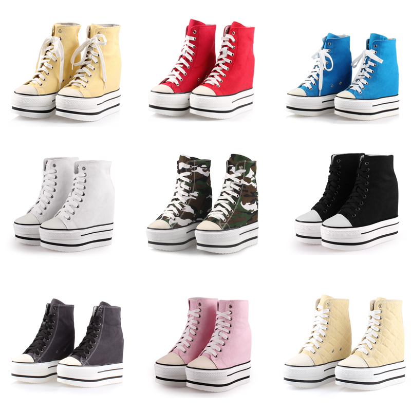 2019 New Women Platform Casual Shoes canvas Breathable Wedge Heels Shoes 13CM Spring Thick Sole Sneakers Woman Deportivas Mujer2019 New Women Platform Casual Shoes canvas Breathable Wedge Heels Shoes 13CM Spring Thick Sole Sneakers Woman Deportivas Mujer