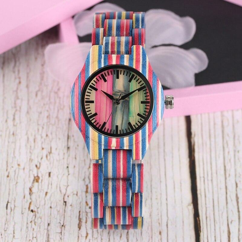 Relógio de Madeira Relógio de Luxo Quartzo de Bambu Pulseira de Madeira Relógio de Pulso Colorido Único Doce Topo Feminino Completo Reloj Mujer Cor