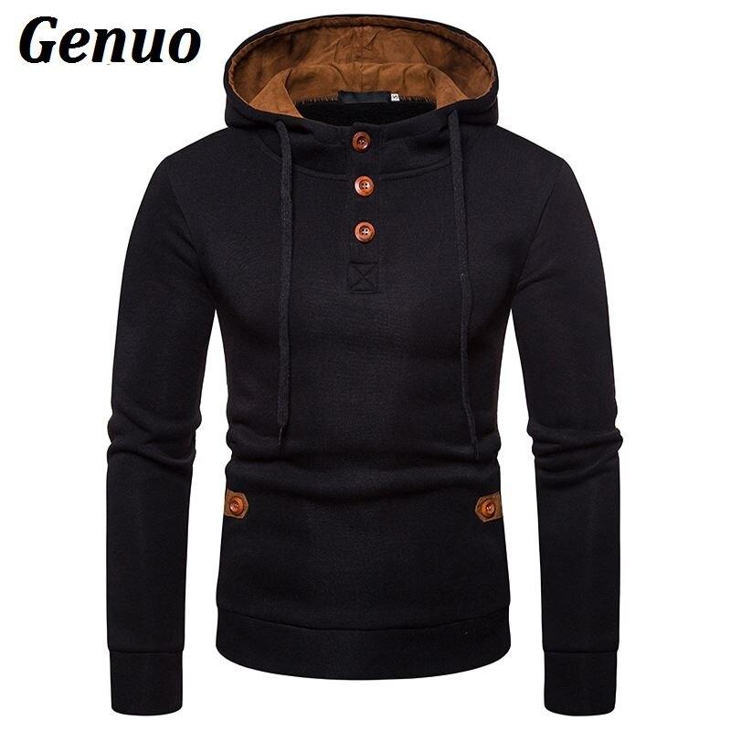 Genuo Men Hoodies Wooden Buttons Solid Color Fleece Fashion Tracksuit Male Patchwork Hooded Sweatshirt Streetwear
