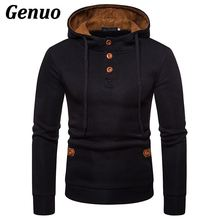 Genuo Men Hoodies Wooden Buttons Solid Color Fleece Fashion Tracksuit Male Patchwork Hooded Sweatshirt Streetwear