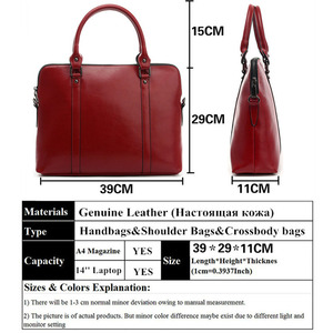 Image 4 - Cowhide Handbag For Women Luxury Shoulder Crossbody Bags Womens Office Messenger Bag Ladies Handbags Sac A Main Bolsos Mujer