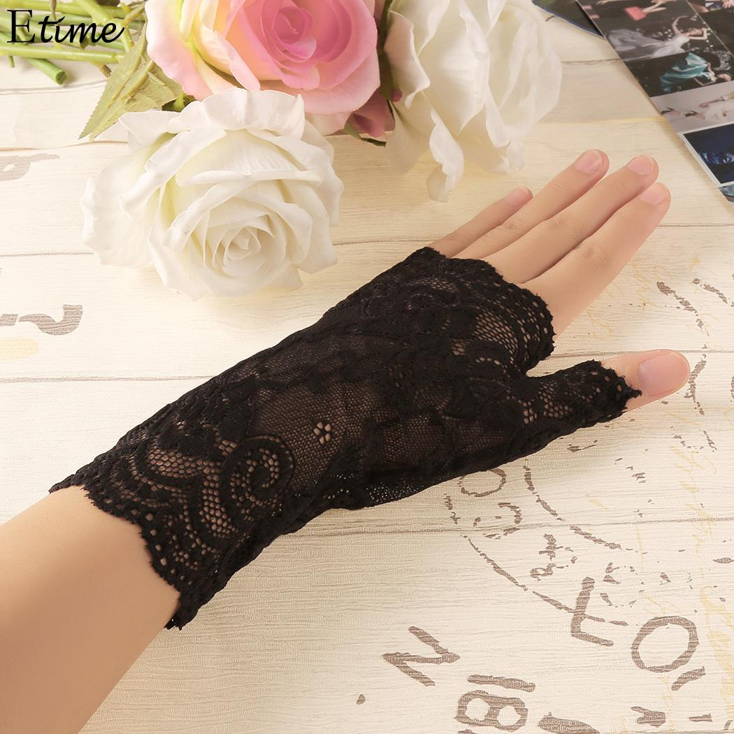 Long Fingerless Womens Sexy Lace Gloves 2018 Winter Red Black Ladies Half Finger Fishnet Gloves Heated Mesh Mitten Gants Femme