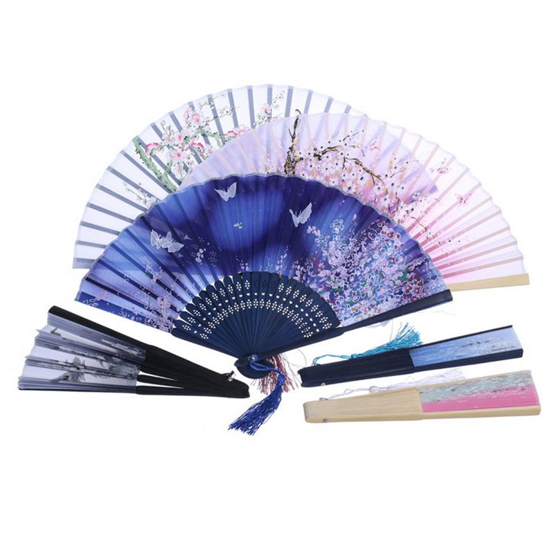 Chinese Style Decorative Bamboo Fans Lace Fabric Silk Folding Hand Held Dance Fans Flower Party Wedding Prom