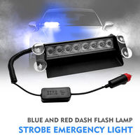 12V LED Car Day Running Flash Led Police Lights Blue Police Strobe 4 Sucker Flashing light Warning Dash Emergency Lamp