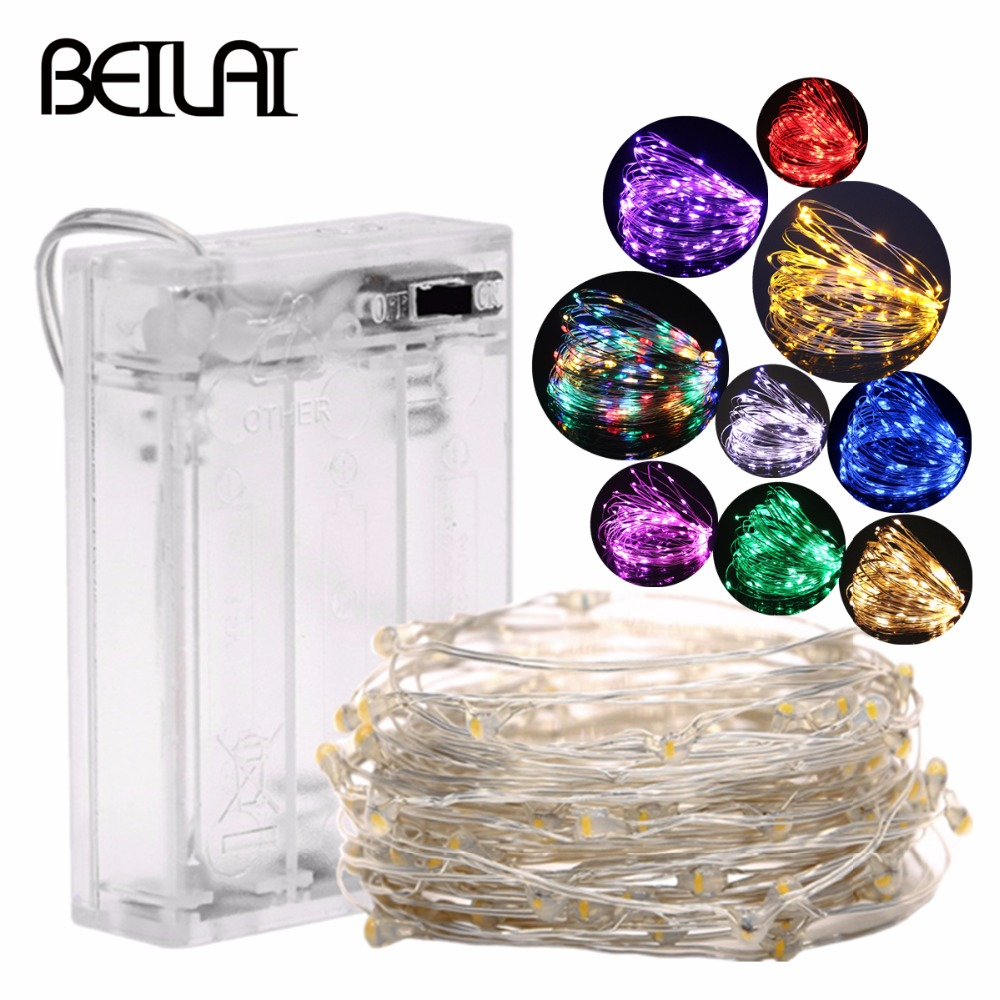 Fairy String LED Lights 10LED/M 10M 5M 2M 3XAA Battery Operated LED Holiday Light For Garland Party Wedding Christmas Decoration
