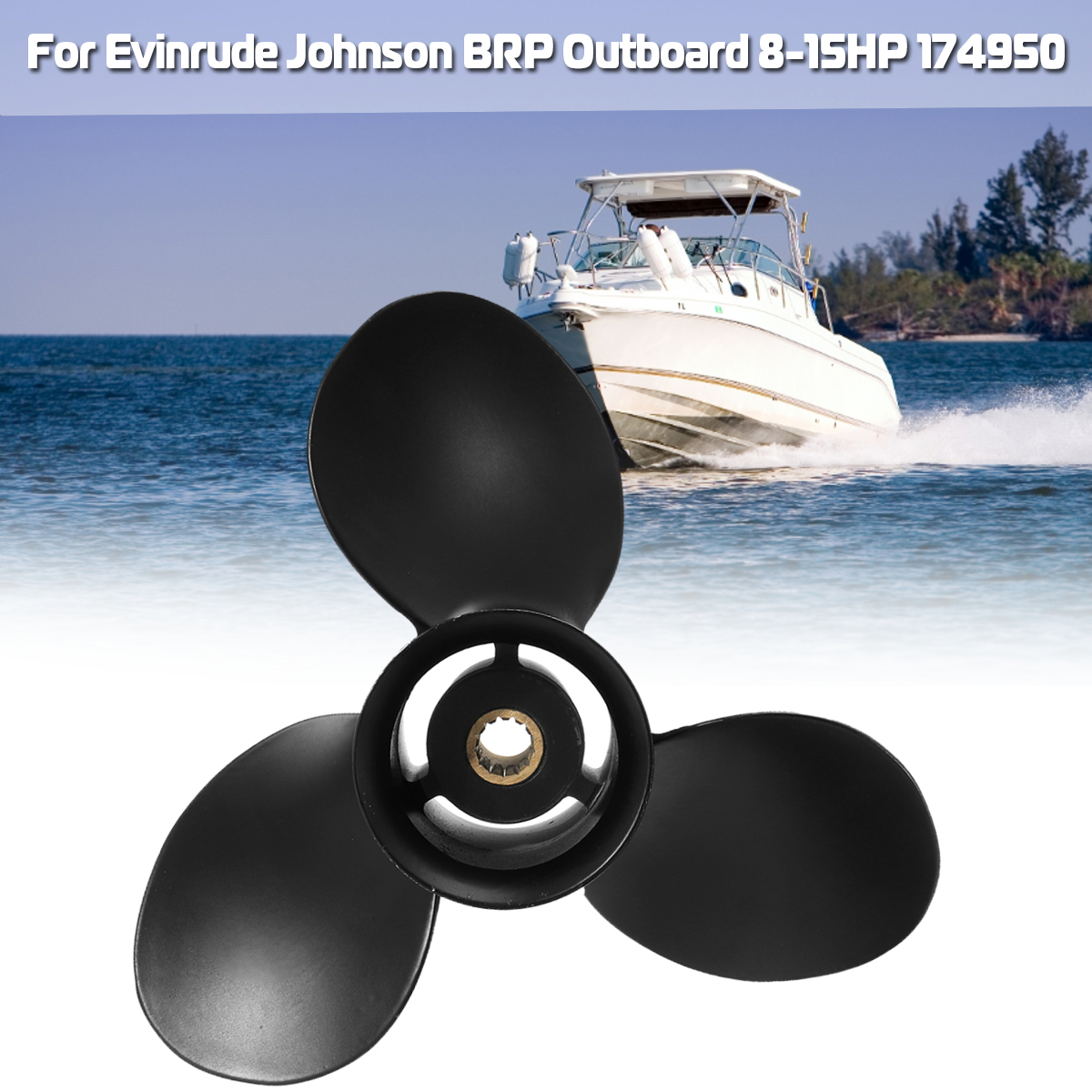 174950 / 778772 For Evinrude Johnson BRP 8-15HP 9 1/4 x 10 Outboard Propeller Aluminum Alloy Black 3 Blades 13 Spline Tooths