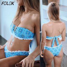 Geomatric Print Bandeau Bikini Set 2019 With Side Ruffle Bottom And Tie TOP Push UP Swimsuit Women Low Waist Swimwear Biquini geometric tie side bikini set