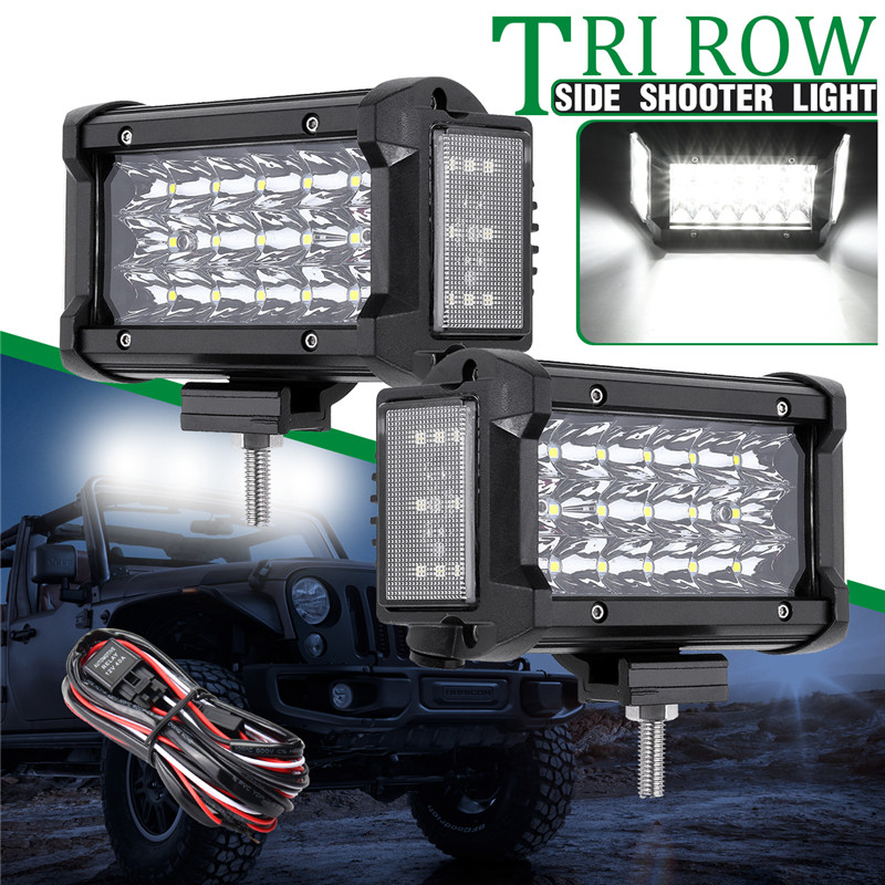 1Pair Side Shooter light LED Work LIght 6 Inch 102W Side Luminous Light Bar Car Driving