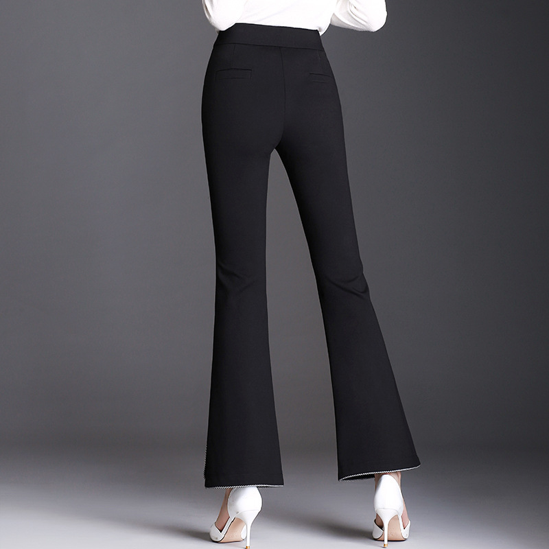 2019 Women High Waist Elastic Flare Pants Casual OL Lady Trousers Women Clothing Office Black Pants Pantalon Femme Plus Size in Pants amp Capris from Women 39 s Clothing