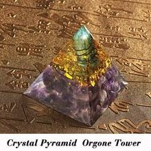 Cristal amatista energía círculo curación cristal Reiki pirámide Chakras Piedra Natural Orgone orgonita pirámide Fengshui decoración del hogar
