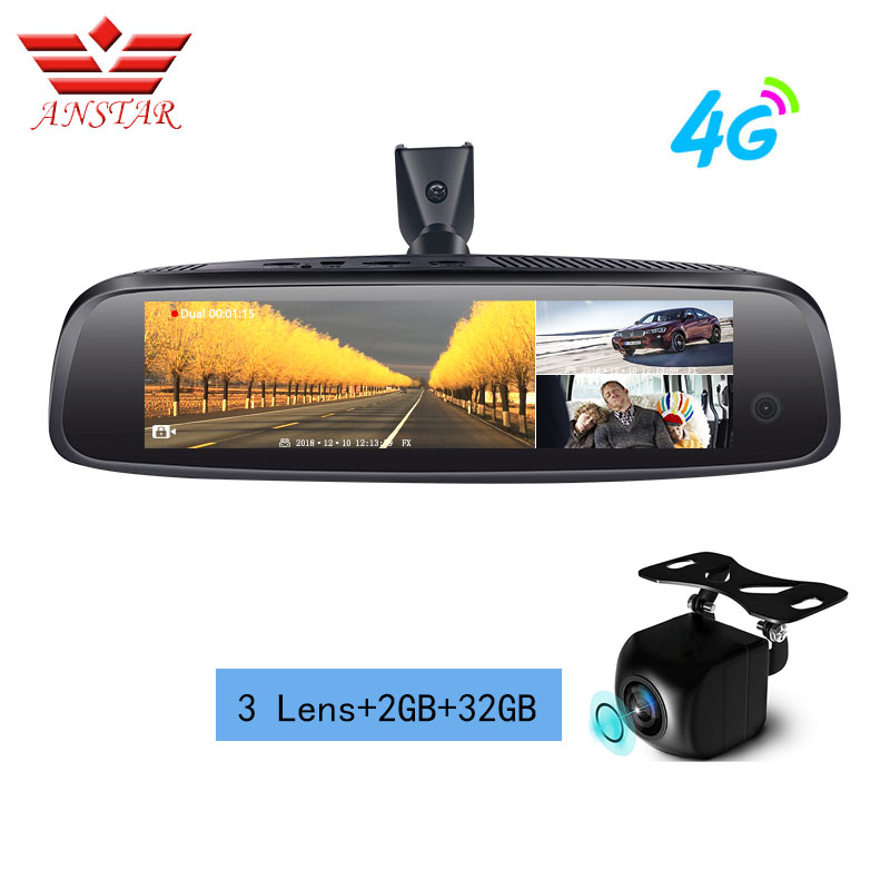 ANSTAR 2019 Nova 3 Lens Carro DVR Android 4G 2GB + 32GB Espelho de Carro DVR FHD 1080P ADAS GPS Streaming de Monitor de Estacionamento Retrovisor Do Carro DVR