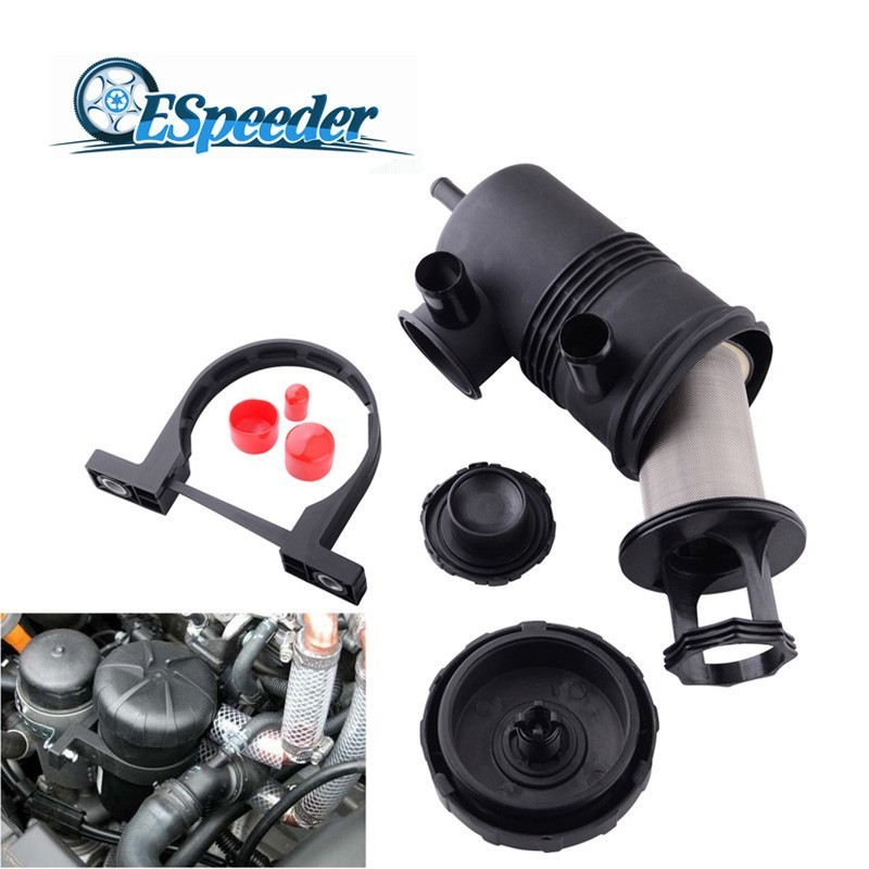 ESPEEDER Oil-Air Separator Oil Catch Can Stainless Filter With Stainless Element For Crankcase Ventilation Gas Filters For Car